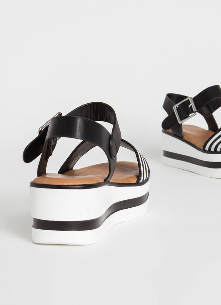 In The Striped Direction Wedge Sandals BLACK