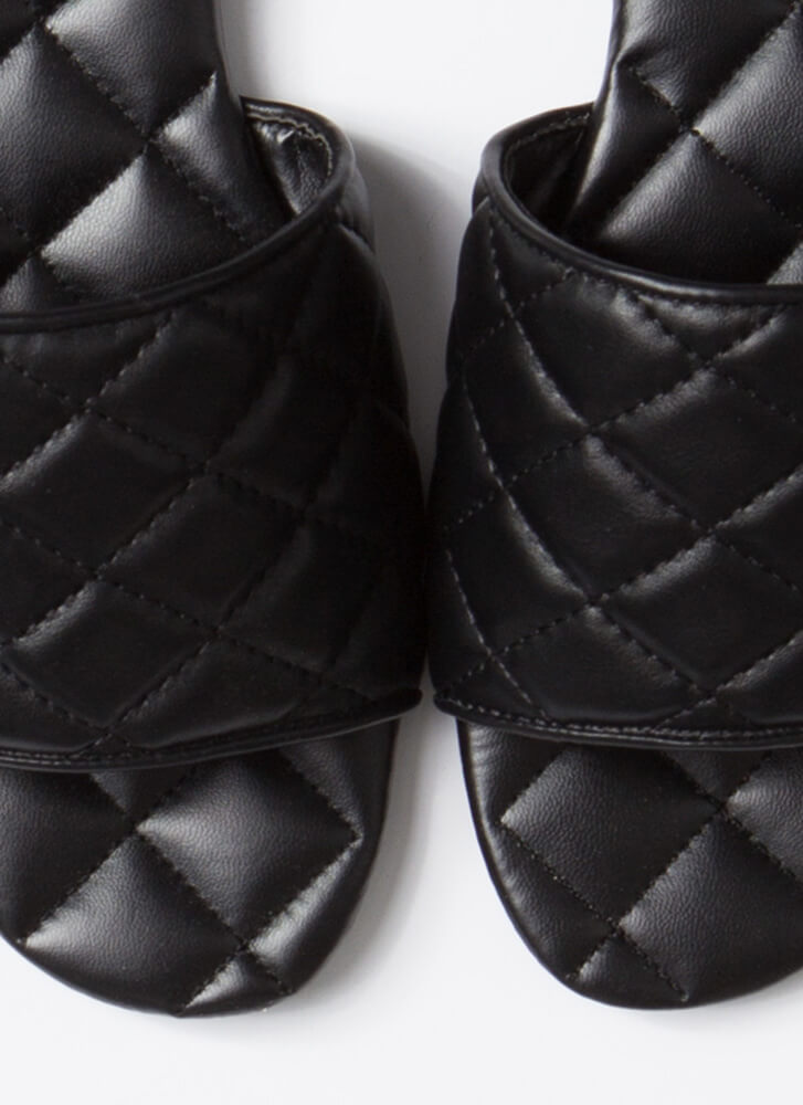 Quilted Me Into It Padded Slide Sandals BLACK