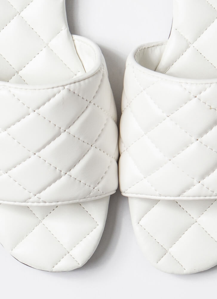 Quilted Me Into It Padded Slide Sandals WHITE