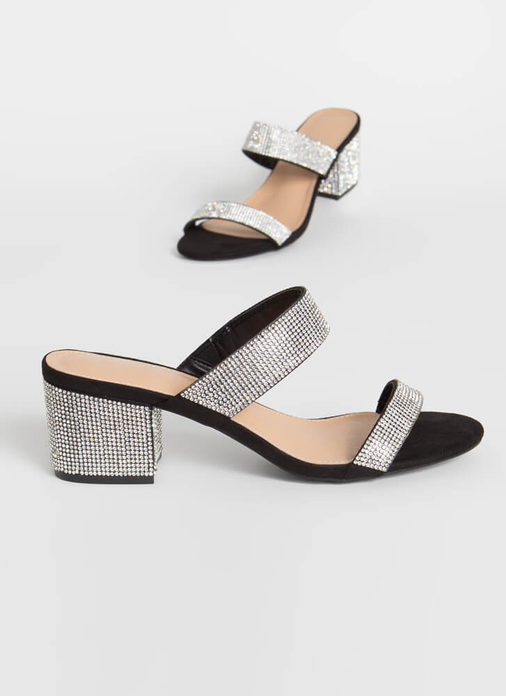 My Time To Shine Jeweled Block Heels BLACK