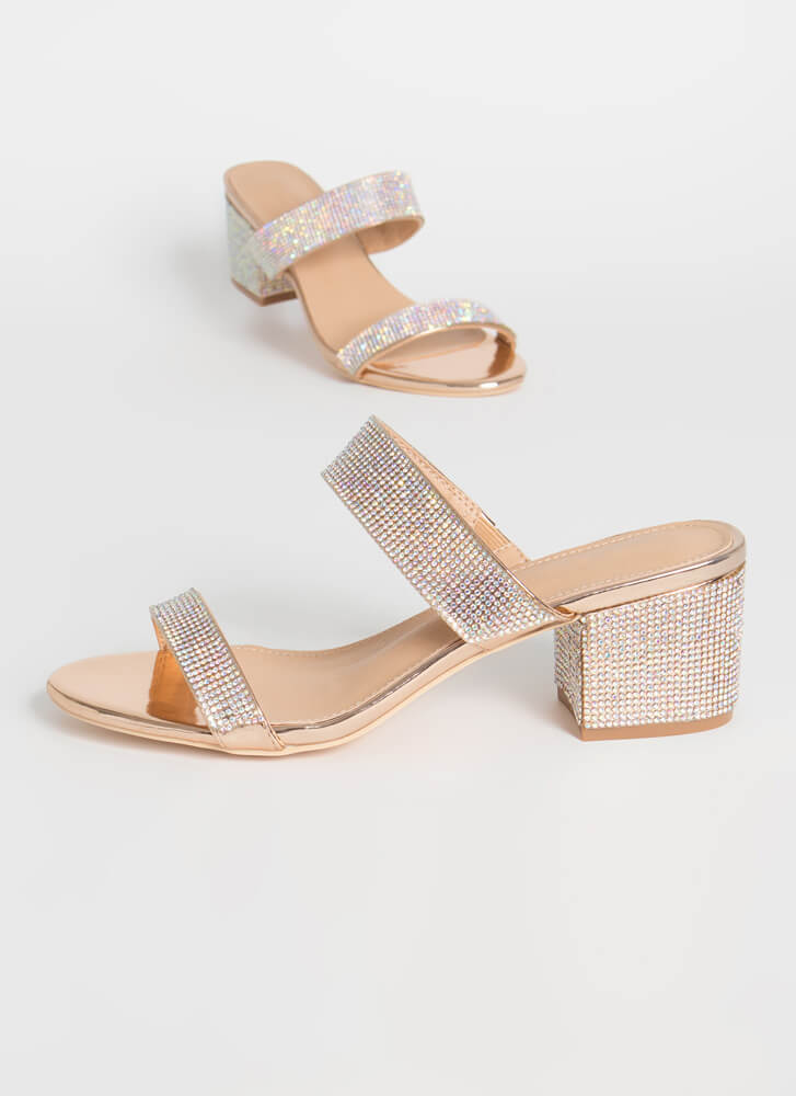 My Time To Shine Jeweled Block Heels ROSEGOLD