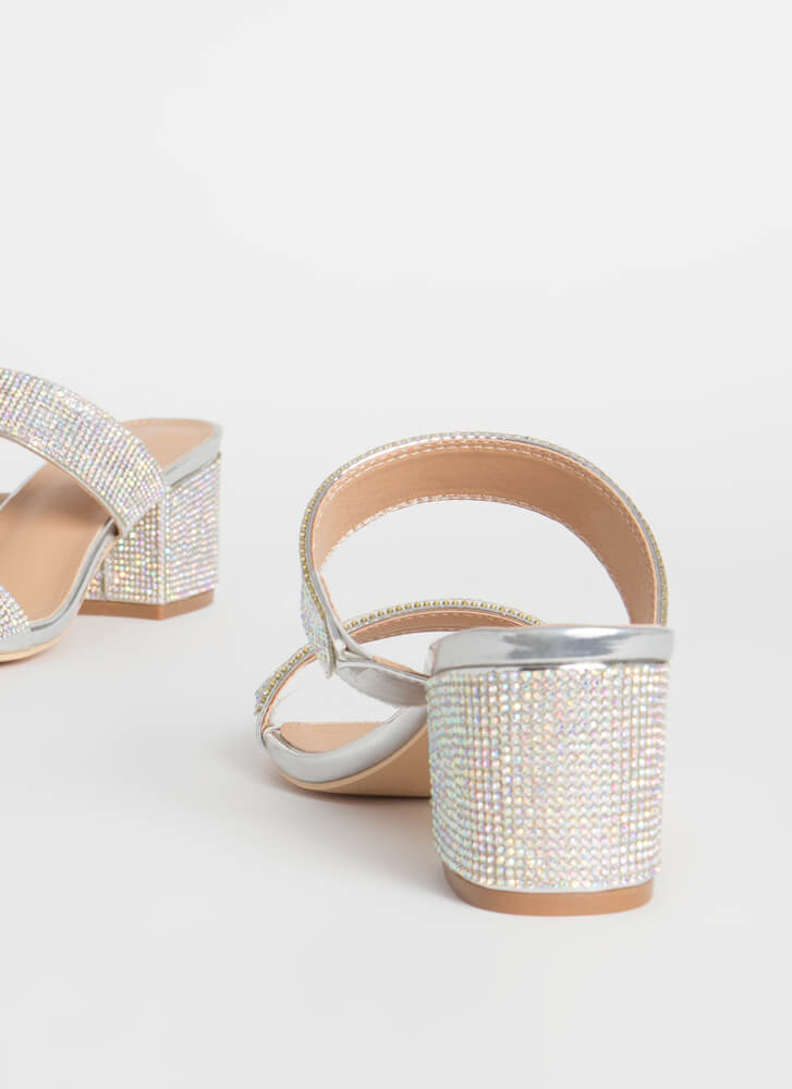 My Time To Shine Jeweled Block Heels SILVER