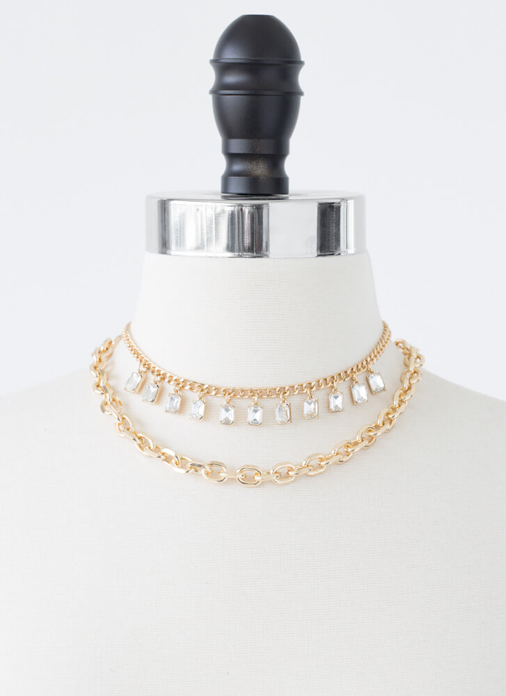 Layer It On Me Jeweled Chain Choker Duo GOLD