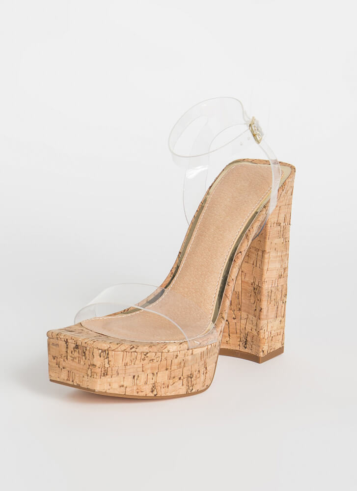 Tall Or Nothing Chunky Platform Heels CORK