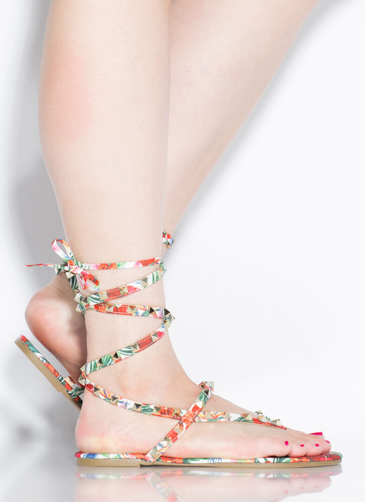 Girl Stud Floral Lace-Up Thong Sandals FLORAL
