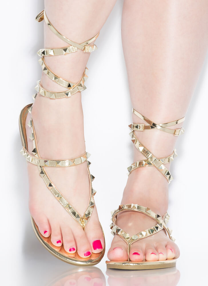 Girl Stud Metallic Lace-Up Thong Sandals GOLD (Final Sale)