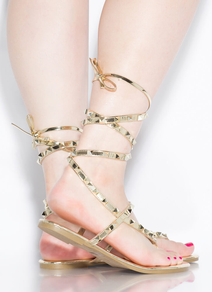 Girl Stud Metallic Lace-Up Thong Sandals GOLD