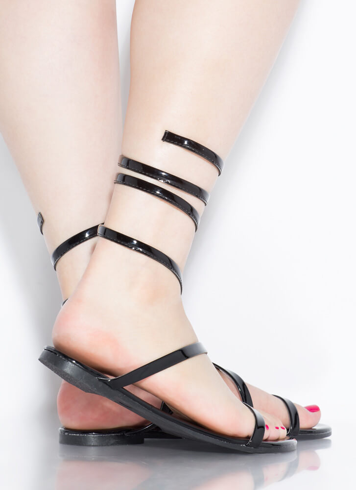 Coil And Trouble Strappy Sandals BLACK