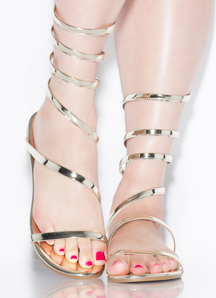 Coil And Trouble Strappy Sandals GOLD