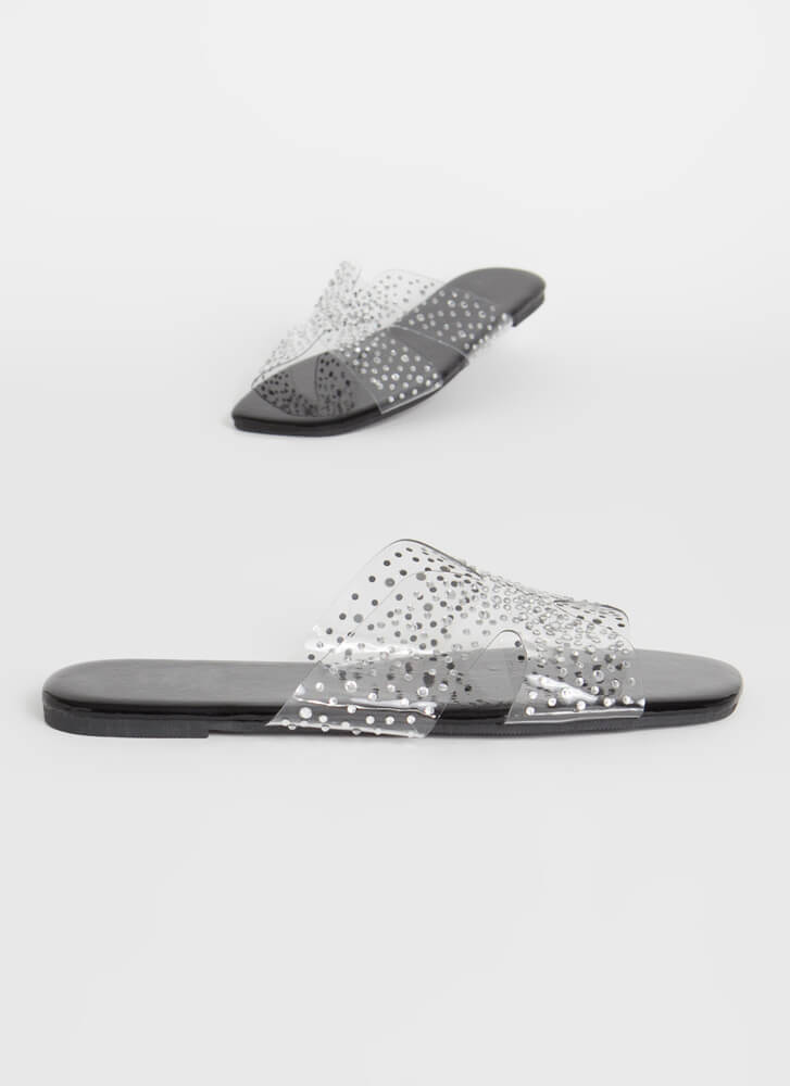 Twinkle Toes Clear Jeweled Slide Sandals BLACK