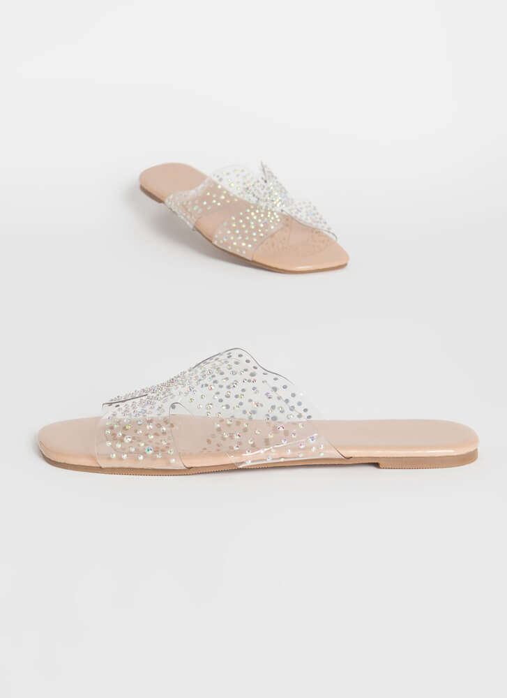 Twinkle Toes Clear Jeweled Slide Sandals NUDE