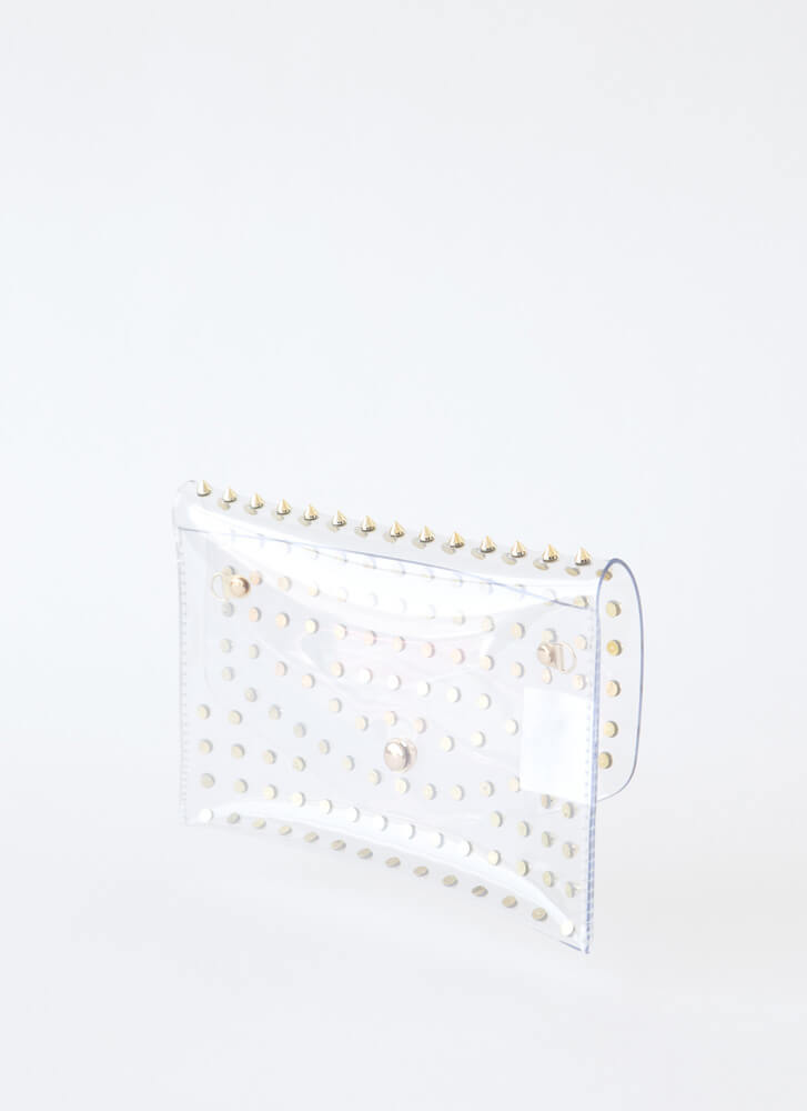 Stay Clear Spiky Studded Envelope Clutch CLEARGOLD