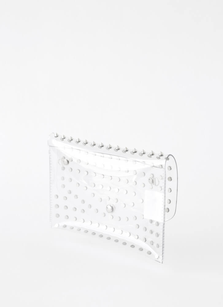 Stay Clear Spiky Studded Envelope Clutch CLEARSILVER