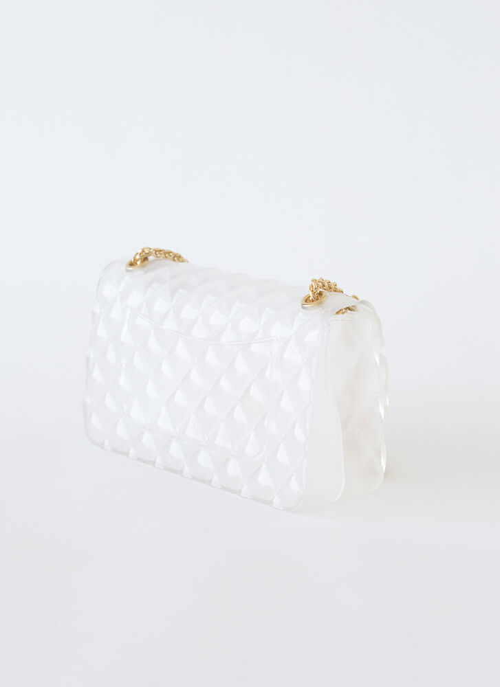 The Classic Faux Quilted Jelly Purse IVORY