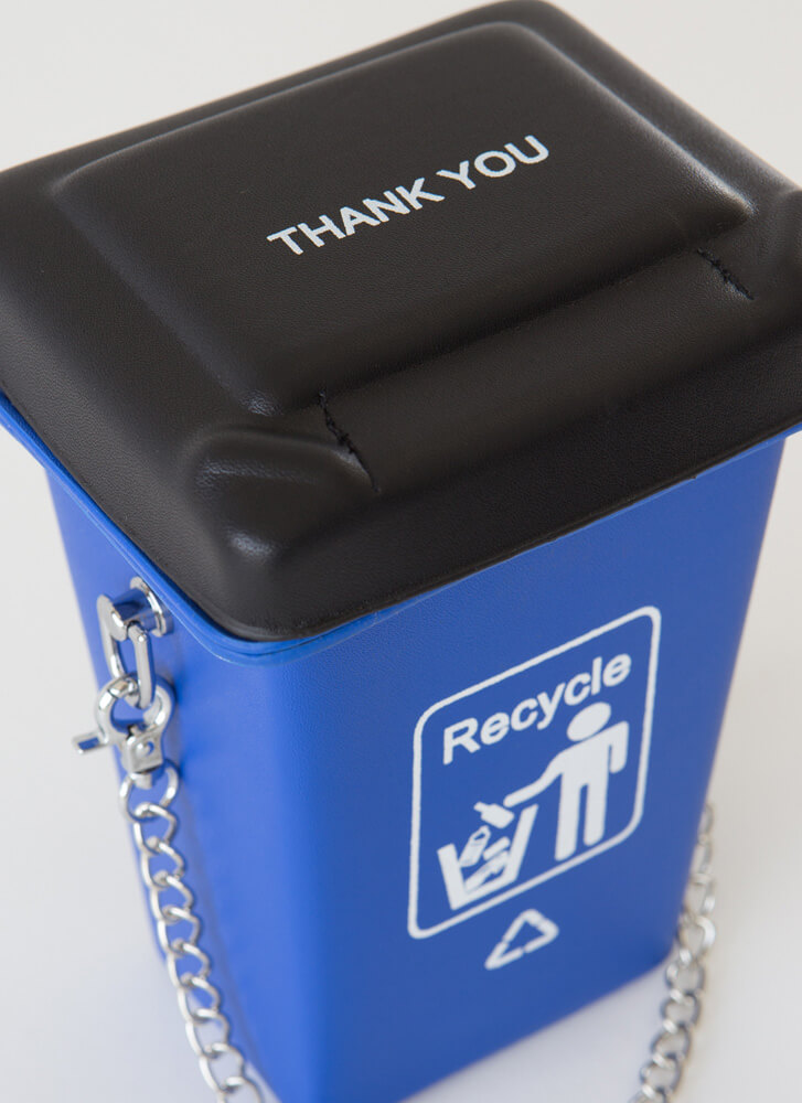 Reduce Reuse Recycle Bin Novelty Clutch BLUE