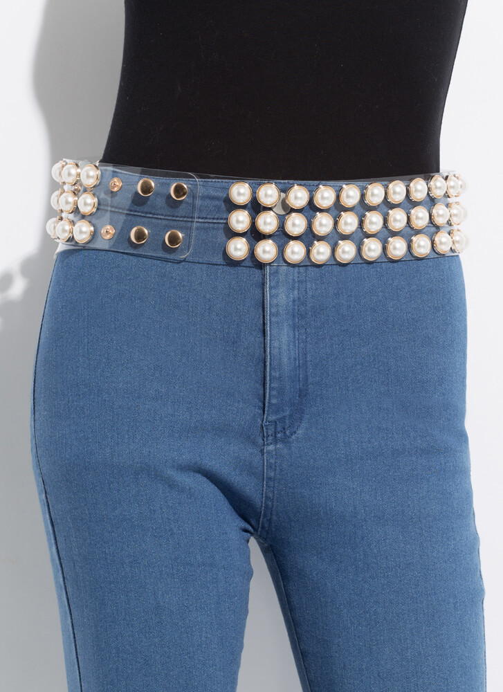 Let's Be Clear Wide Faux Pearl Belt CLEARGOLD
