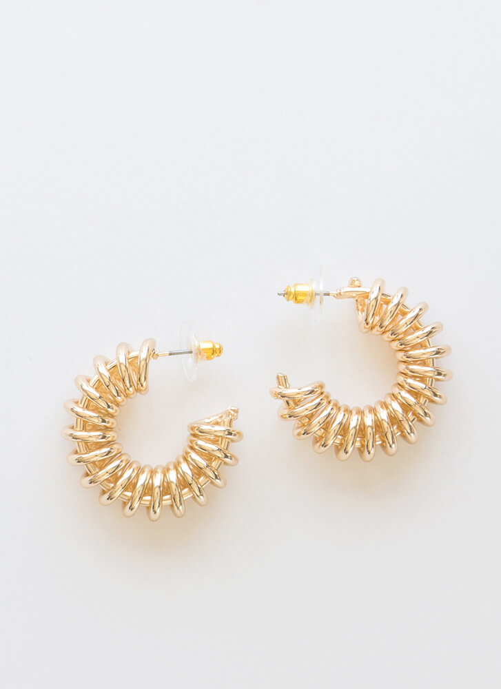 Go Chunky Coiled Partial Hoop Earrings GOLD
