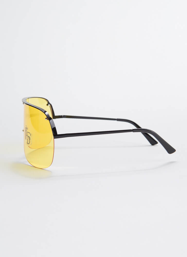Sun's Out Sunnies Out Goggle Sunglasses YELLOW