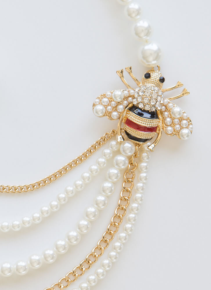 Bee-loved Draped Faux Pearl Necklace Set GOLD