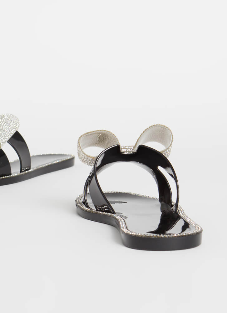 Big Bows Don't Cry Jeweled Jelly Sandals BLACK