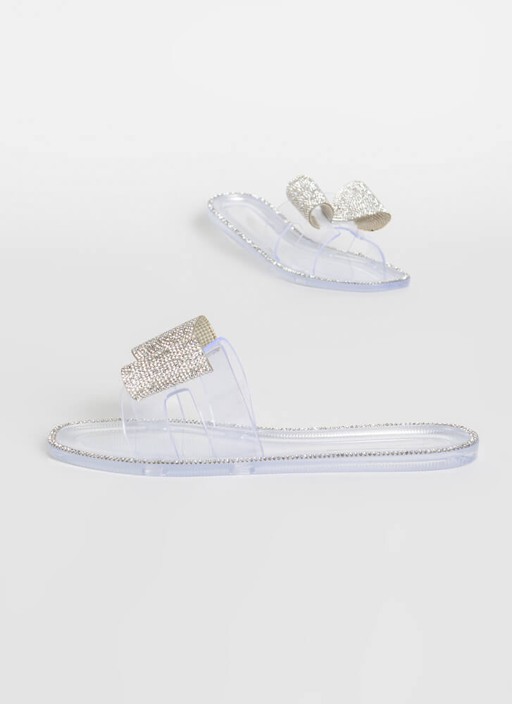 Big Bows Don't Cry Jeweled Jelly Sandals CLEAR