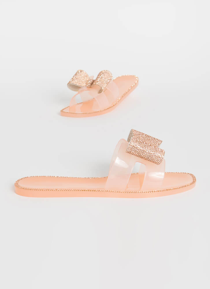Big Bows Don't Cry Jeweled Jelly Sandals NUDE