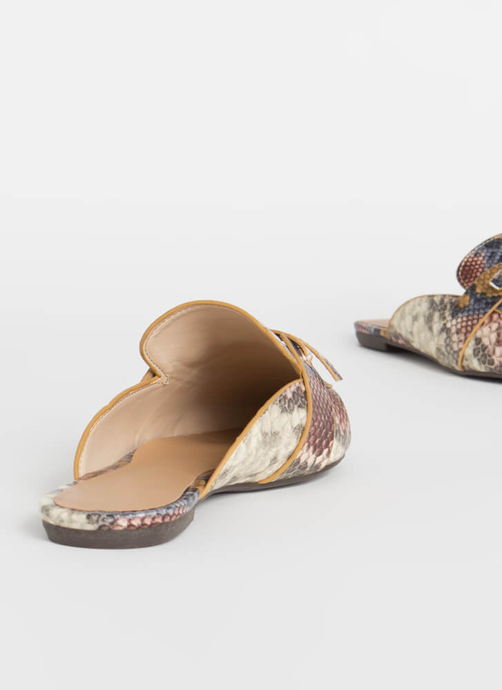 Give It A Tie Snake Print Mule Flats CAMEL