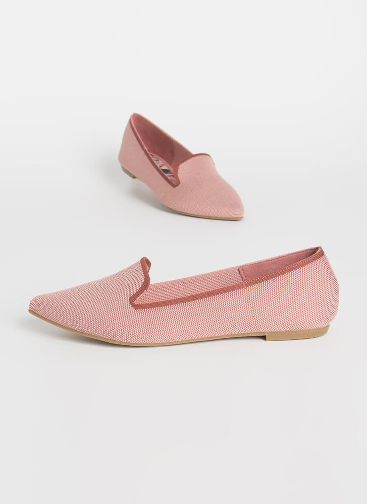 The Knit Factor Pointy Smoking Flats BLUSH