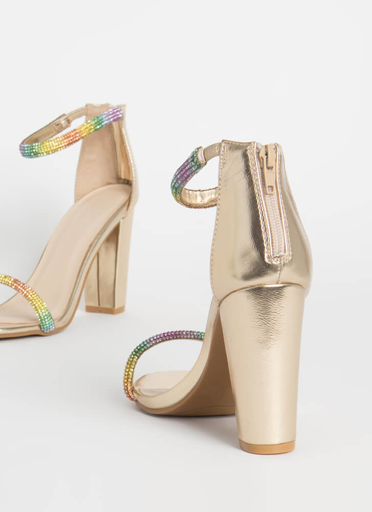 Shiny Rainbow Jeweled Chunky Heels GOLD