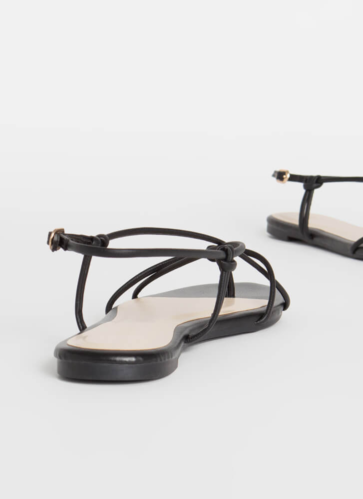 X-It Strategy Strappy Thong Sandals BLACK