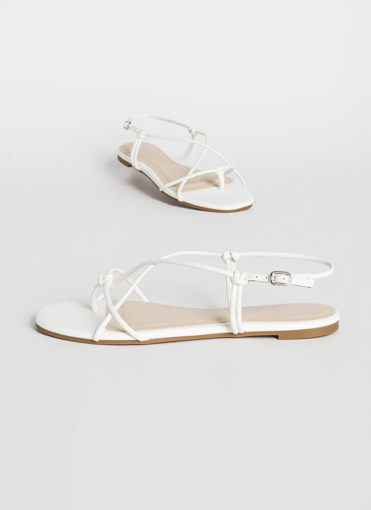 X-It Strategy Strappy Thong Sandals WHITE