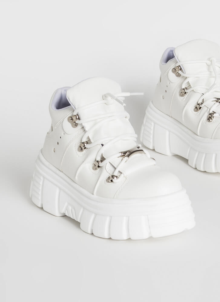 Moon Walk Lace-Up Platform Sneakers WHITE