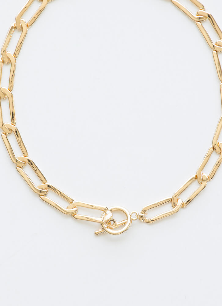 Let's Link Up Toggle Chain Choker GOLD