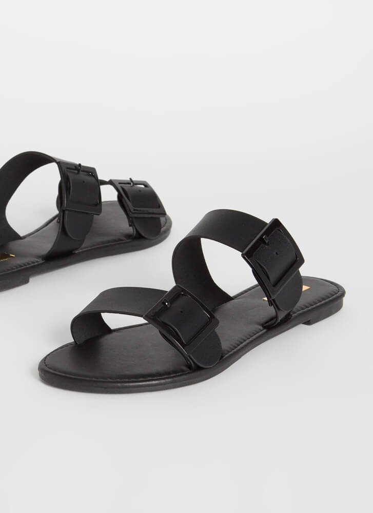 One Two Buckle My Slide Sandals BLACK