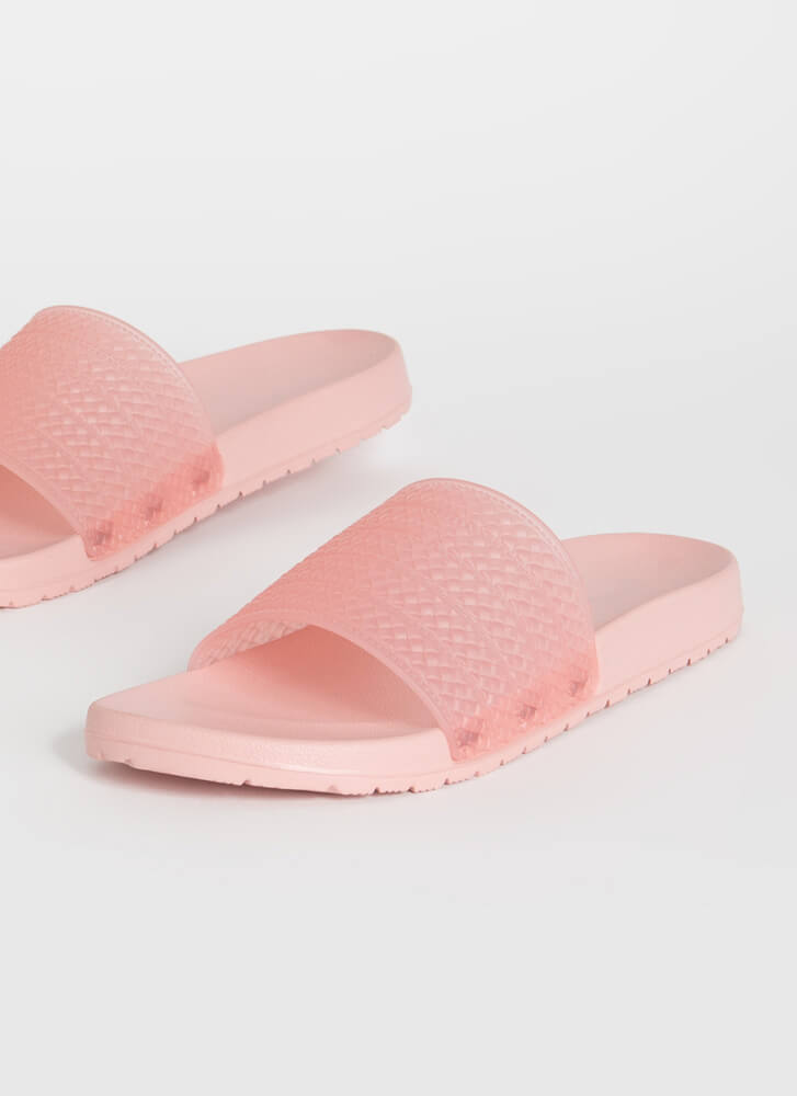 Add To Basket Faux Woven Slide Sandals PINK