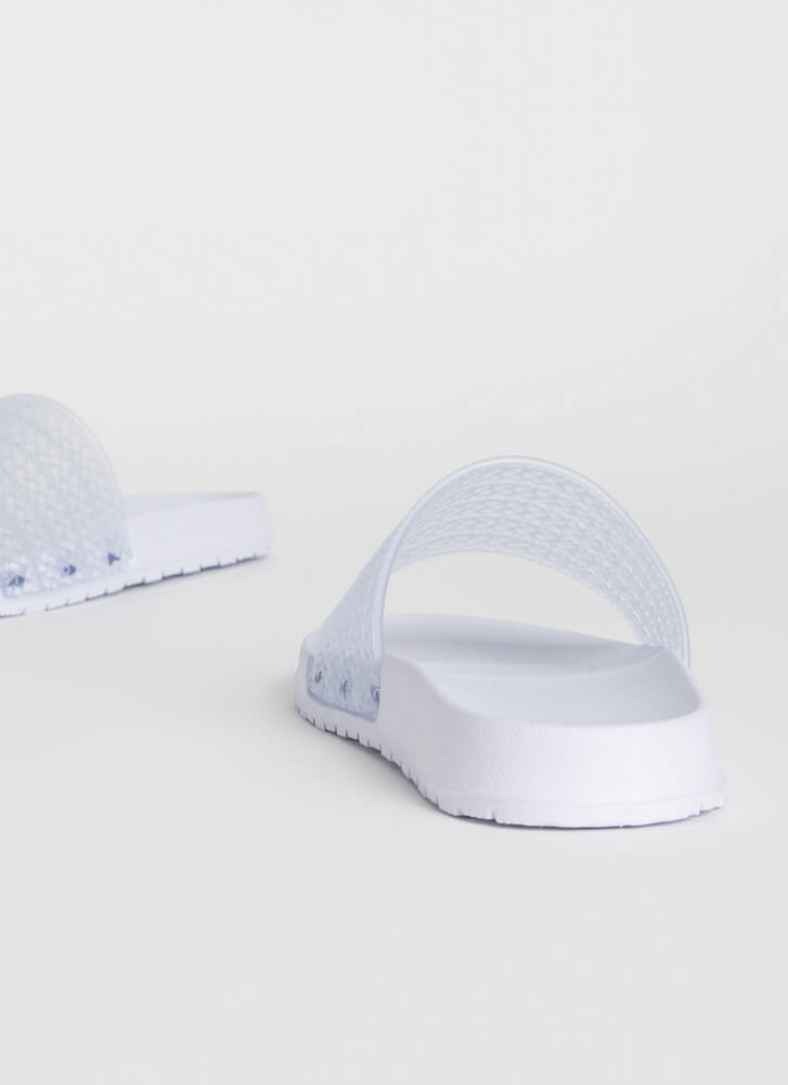 Add To Basket Faux Woven Slide Sandals WHITE