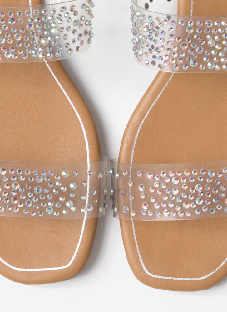 Clear Night Sky Jeweled Slide Sandals CLEAR