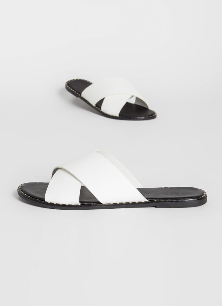 Back With My X Studded Slide Sandals WHITE