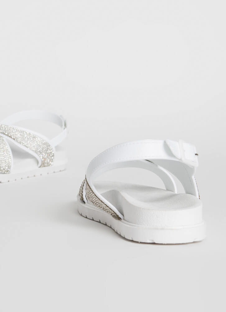 X-tra Sparkle Strappy Jeweled Sandals WHITEWHITE