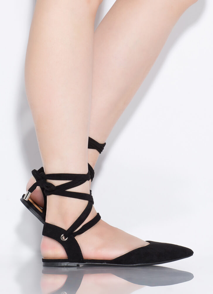 Lace Me Up Pointy Faux Suede Flats BLACK