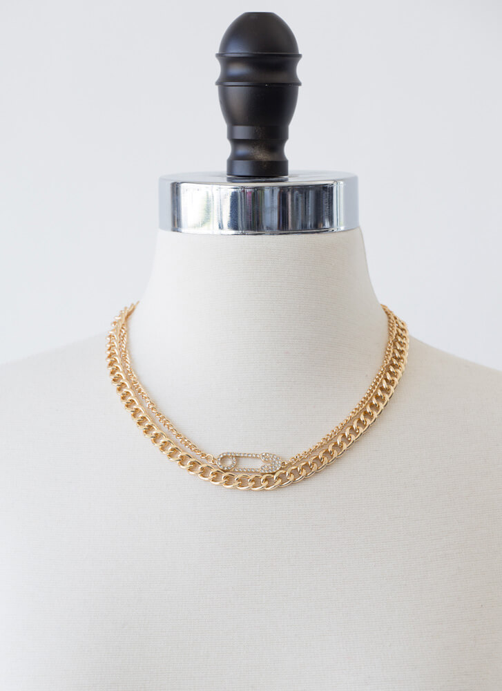 Safety Pin First Draped Chain Necklace GOLD