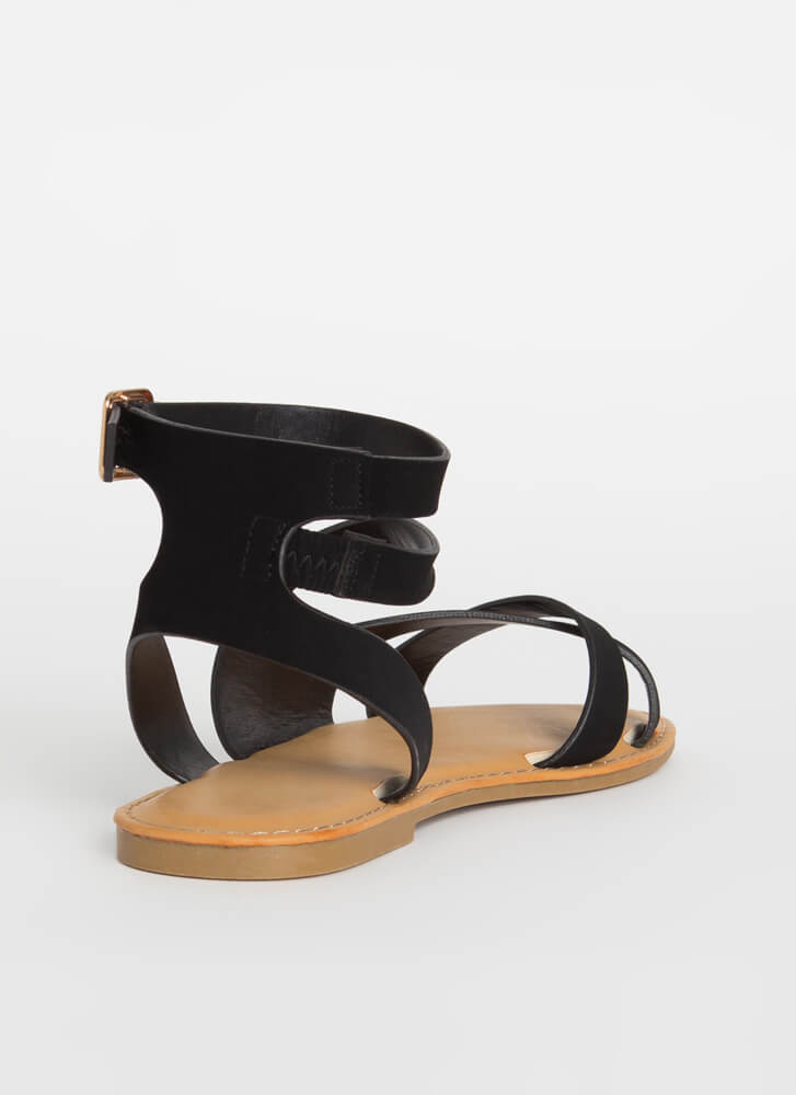 Keep Me Strappy Faux Nubuck Sandals BLACK