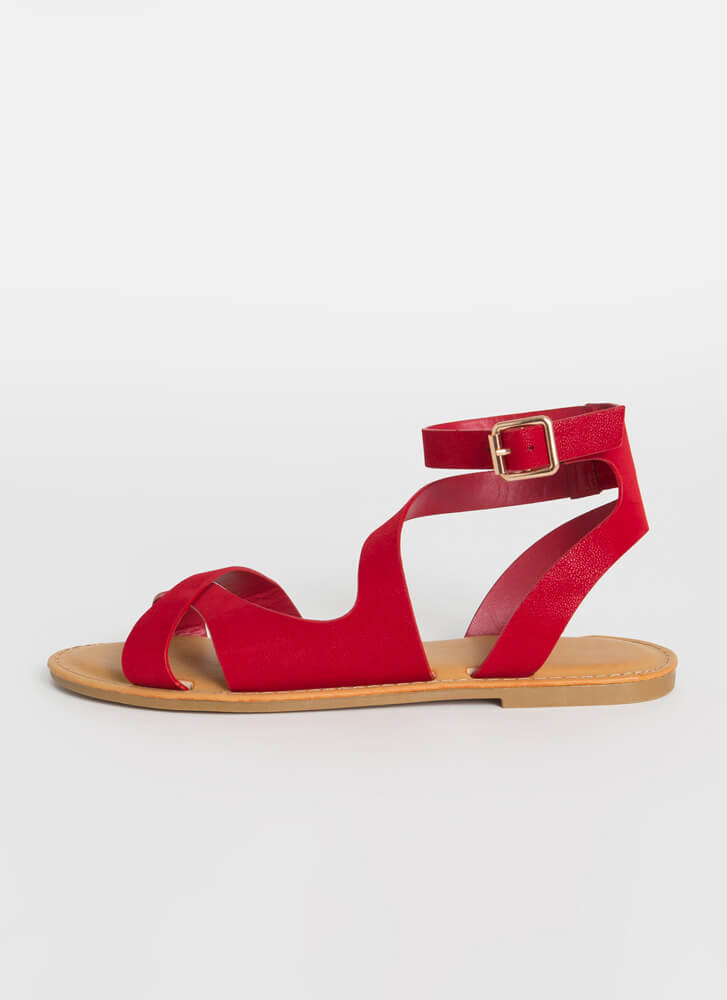 Keep Me Strappy Faux Nubuck Sandals RED