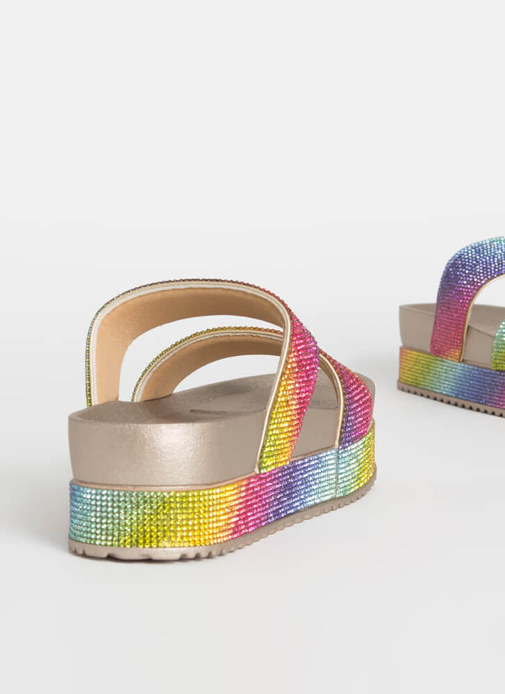 Sparkle Overload Platform Slide Sandals RAINBOW
