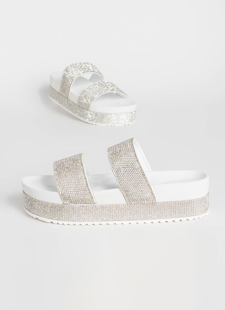 Sparkle Overload Platform Slide Sandals WHITE