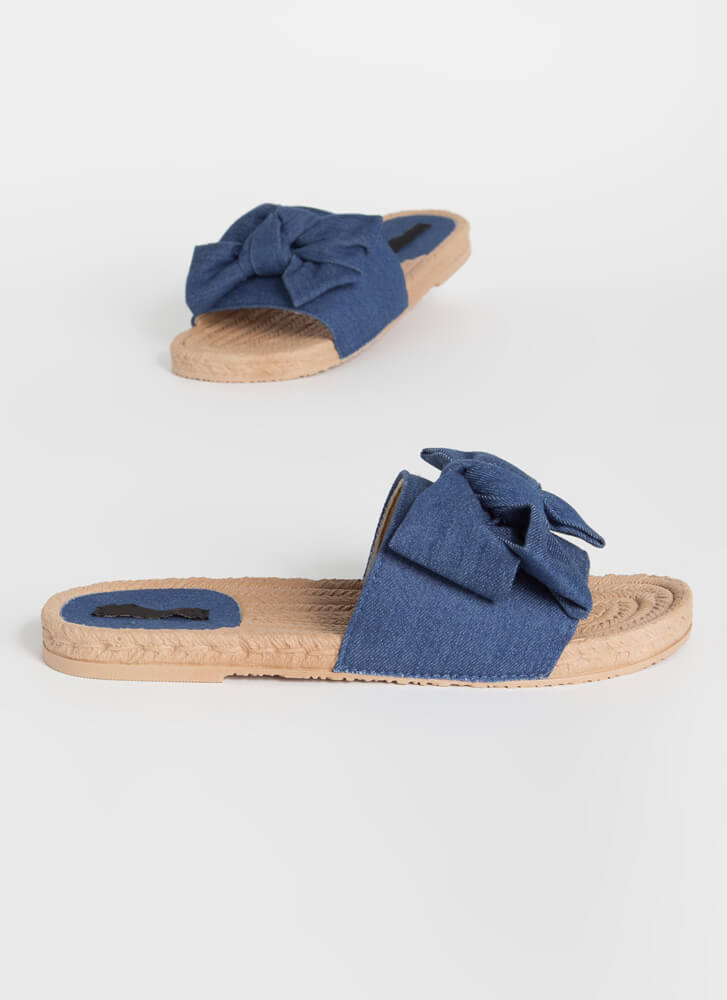 Just Add A Big Bow Denim Slide Sandals BLUE