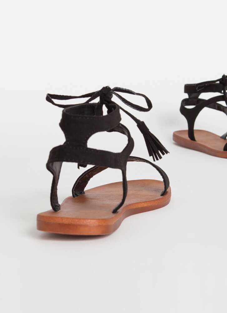Boho Touch Tied Tasseled Sandals BLACK