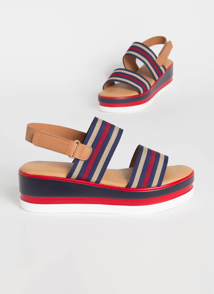 Nautical Vibes Striped Wedge Sandals NAVY