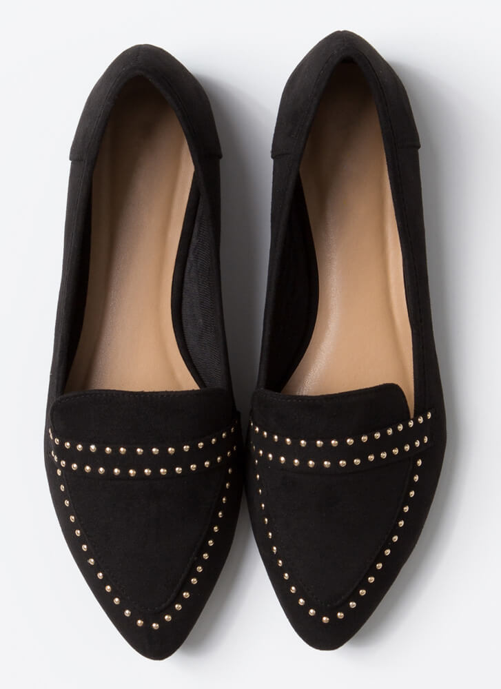 The Ground Up Studded Smoking Flats BLACK