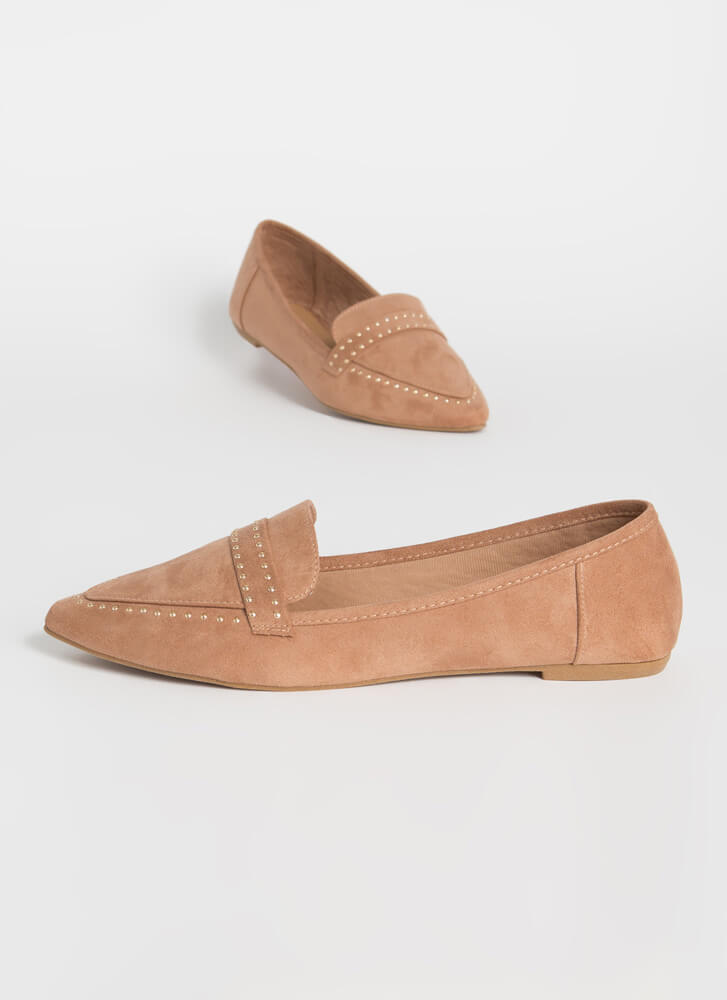 The Ground Up Studded Smoking Flats CAMEL